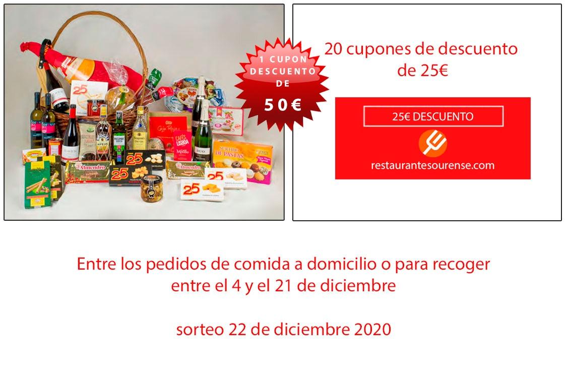 Sorteo Navidad: Cesta de Navidad, Cupón Descuento de 50€ y  20 Cupones Descuento de 25€